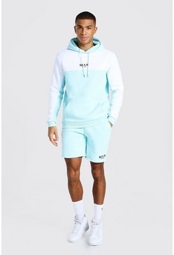 Pale blue blue Man Tape Colour Block Short Hooded Tracksuit