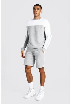 Grey marl grey Man Tape Colour Block Short Sweater Tracksuit