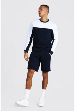Navy Man Tape Colour Block Short Sweater Tracksuit