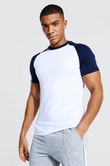 Navy Muscle Fit Contrast Raglan T-shirt