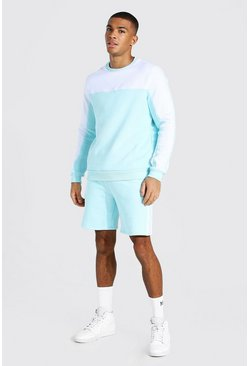 Pale blue blue Man Tape Colour Block Short Sweater Tracksuit