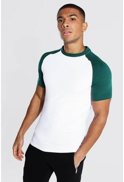 Forest green Muscle Fit Contrast Raglan T-shirt