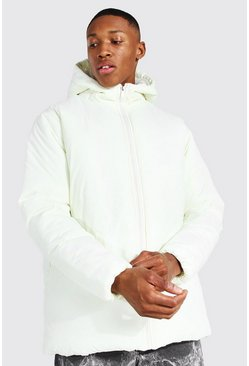 Ecru white Hooded Boxy Parka