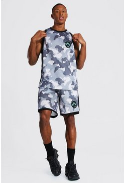 Grey Man Camo Airtex Tank Top & Basketball Short Set