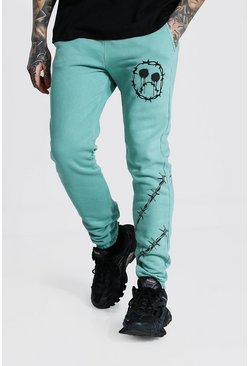 Blue Regular Barbed Wire Overdye Joggers