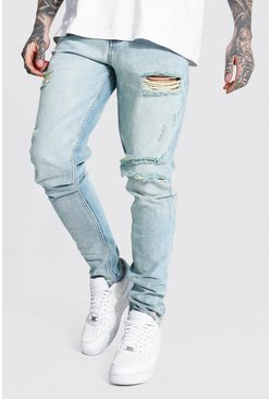 Antique blue Tapered Rigid Stacked Leg Multi Rip Jean