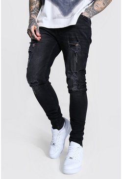 Washed black Skinny Stretch Stacked Leg Multi Rip Jean