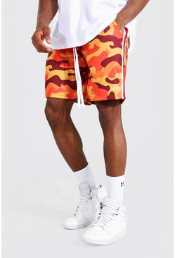 Orange Loose Original Man Camo Side Panel Shorts