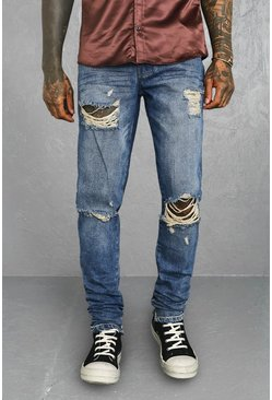 Antique blue Tapered Stacked Exploded Knee Jean