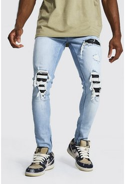 Ice blue Skinny Distressed Pu Rip & Repair Biker Jean