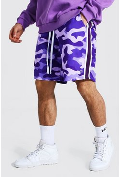 Purple Loose Original Man Camo Side Panel Shorts