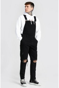 True black Slim Rigid Exploded Knee Long Dungaree