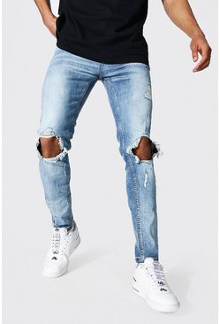 Light blue blue Skinny Stretch Exploded Knee Popper Hem Jean