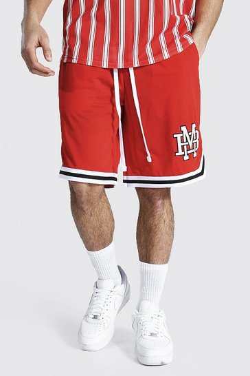 Red Varsity Man Applique Mesh Basketball Shorts
