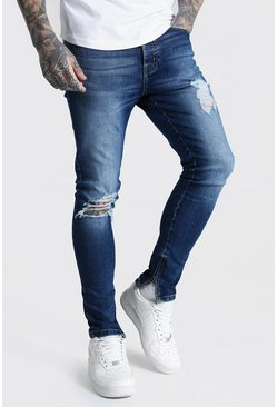 Dark blue blue Super Skinny Busted Knee Zip Hem Jean