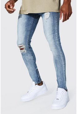 Light blue blue Super Skinny Busted Knee Zip Hem Jean