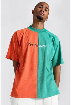 Oversized Man Official Spliced T-shirt, Green gerde