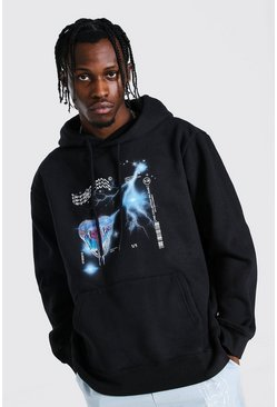 Black Oversized Official Man Snake Graphic Hoodie