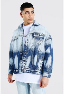 Mid blue blue Heavily Bleached Denim Jacket