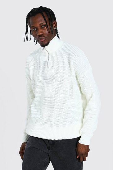 Cream white Oversized Chunky Ribbed Half Zip Jumper