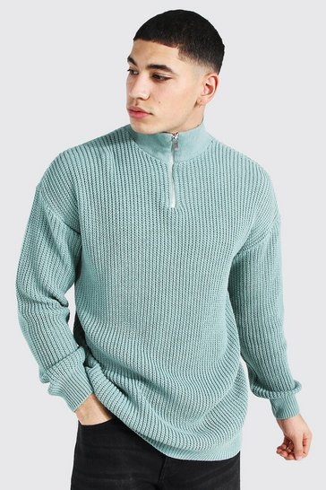 Sage green Oversized Chunky Ribbed Half Zip Jumper