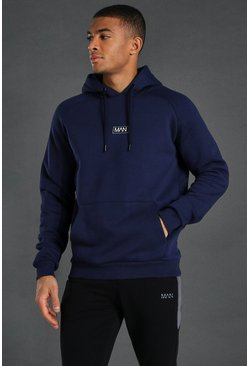 Navy Man Active Training Over The Head Hoodie