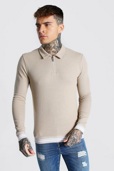 Stone beige Muscle Fit Long Sleeve Knit Polo With Stripes