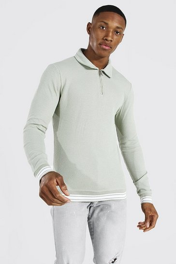 Sage green Muscle Fit Long Sleeve Knit Polo With Stripes