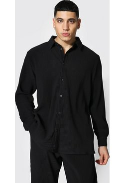 Black Long Sleeve Pleated Popper Overshirt