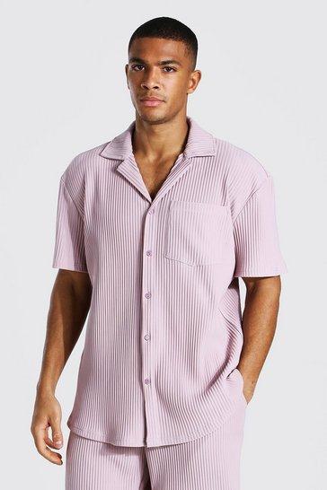 Pebble beige Pleated Short Sleeve Revere Shirt