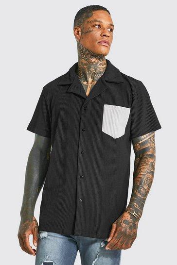 Black Pleated Short Sleeve Revere Shirt