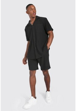 Black Short Sleeve Pleated Shirt Short Set