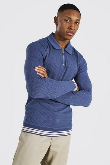 Blue Muscle Fit Long Sleeve Knit Polo With Stripes