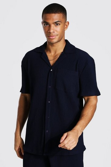 Navy Pleated Short Sleeve Revere Shirt