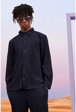 Navy Long Sleeve Pleated Popper Overshirt