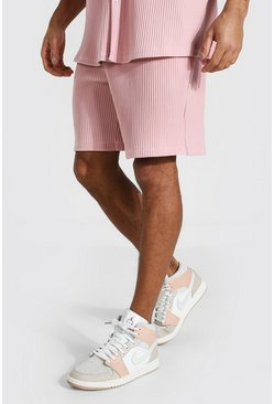 Dusky pink pink Pleated Regular Mid Length Shorts