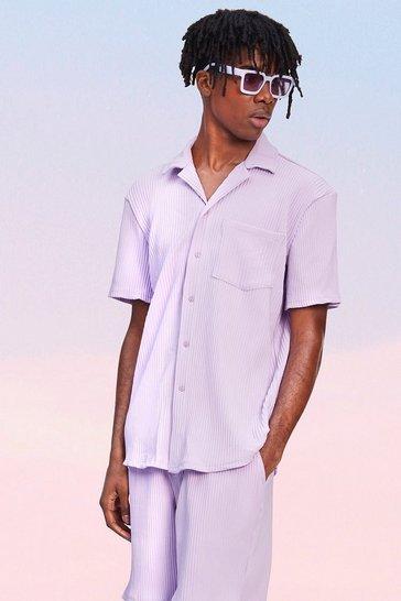 Lilac purple Pleated Short Sleeve Revere Shirt