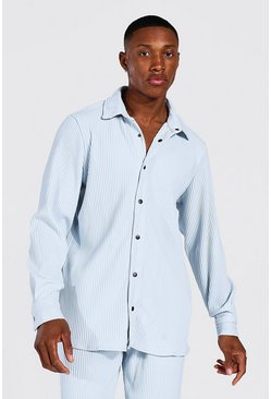 Light blue blue Long Sleeve Pleated Popper Overshirt