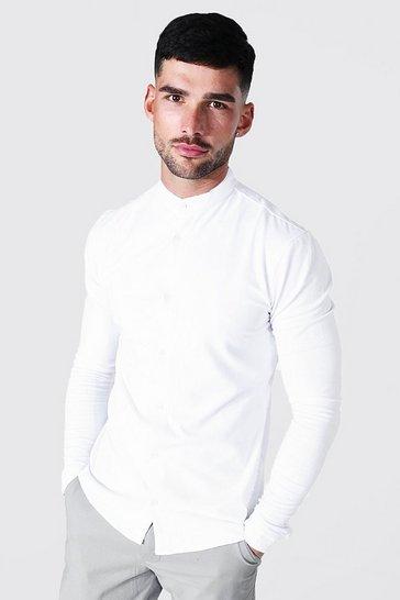 White Long Sleeve Muscle Fit Grandad Collar Shirt