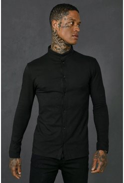 Long Sleeve Muscle Fit Grandad Collar Shirt, Black nero