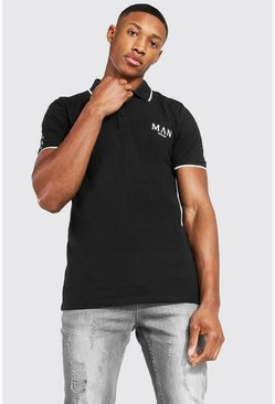 Black Man Roman Muscle Fit Polo With Sleeve Tape