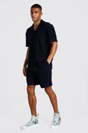 Navy Short Sleeve Pleated Shirt Short Set