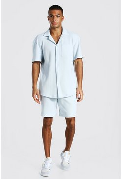 Light blue blue Short Sleeve Pleated Shirt Short Set