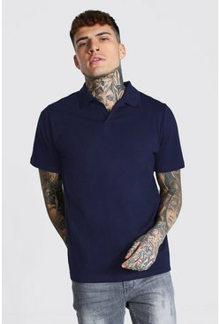 Navy Revere Collar Jersey Polo