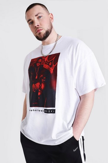 White Plus Size Biggie Split License T-shirt