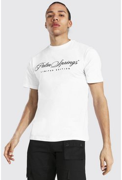 "Camiseta con ""Palm Springs"" bordado Tall, Blanco"