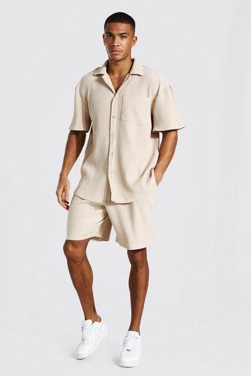 Taupe beige Short Sleeve Pleated Shirt Short Set