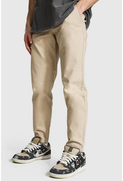 Stone beige Chinobyxor i slim fit