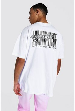 White Tall Oversized Barcode Back Print T-shirt