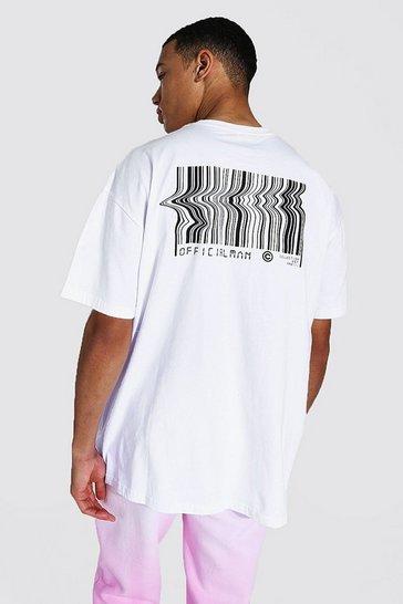 White Tall Oversized Barcode Back Print T-shirt